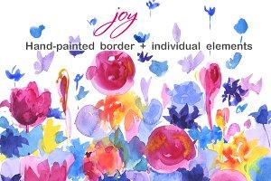 Watercolor floral border Joy