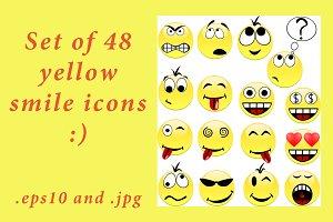 Set of 48 yellow smile icons-smiles