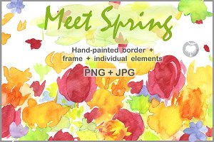 Hand-painted border Meet Spring
