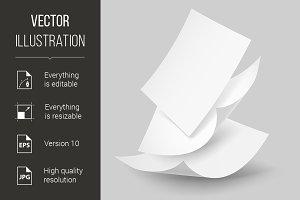 Falling paper sheets.