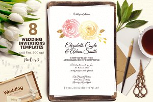8 Wedding Invitations Pack 3