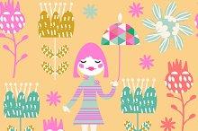 Kids seamless pattern, vector