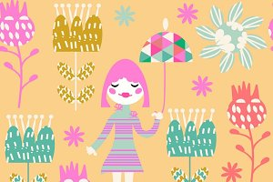 Kids seamless pattern, vector