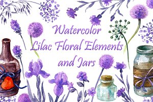 Watercolor Floral Elements and Jars