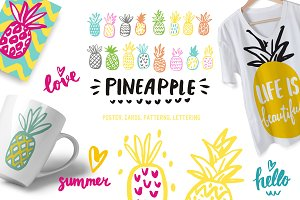 Pineapple poster, cards, patterns