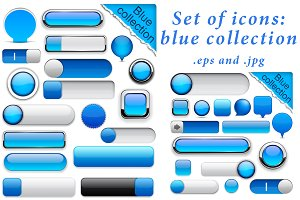 Set of blue icons templates