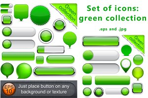 Set of green icons templates