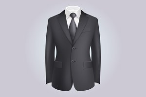 Male Clothing Dark Suit Set