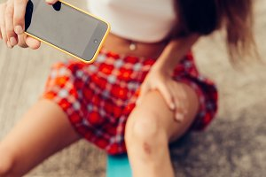 Beautiful hot girl with smartphone.