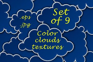Set of color clouds textures