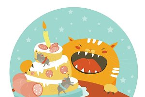 Cat and big cake with mouse
