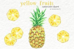 Watercolor Clip Art - Yellow Fruit