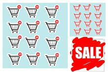 Shopping cart sale icons, stickers