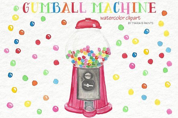 Watercolor Clip Art - Gum balls