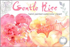 Watercolor clipart Peony Gentle Kiss