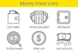 Money icons. Vector