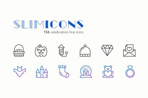 Celebration Line Icons - Slimicons