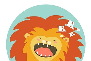 Funny lion roaring