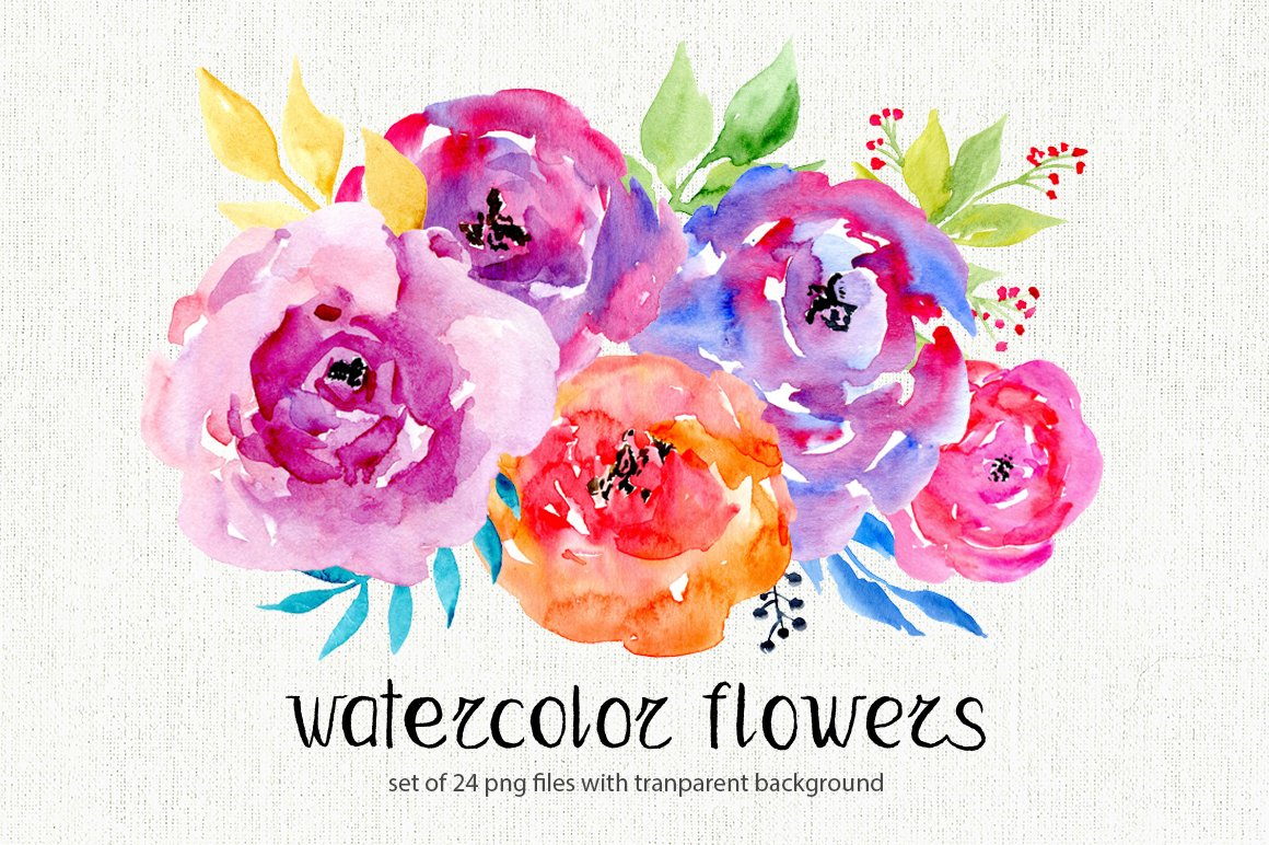 Watercolor flowers 24 png clipart illustrations for Watercolor flower images