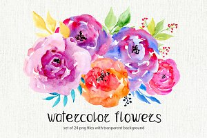 Watercolor flowers, 24 png clipart