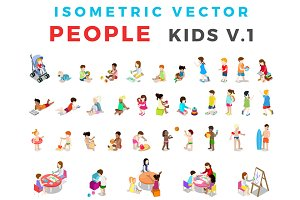ISOMETRIC VECTOR People Kids v1