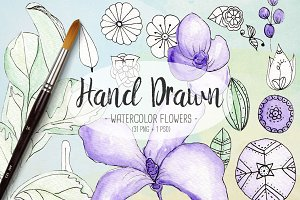 Violet Watercolor Floral Bundle