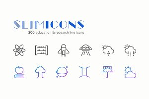 Education & Research Line Icons