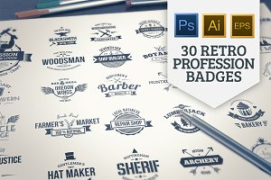 30 Vintage Profession Insignias