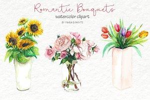 Watercolor Clip Art - Bouquets