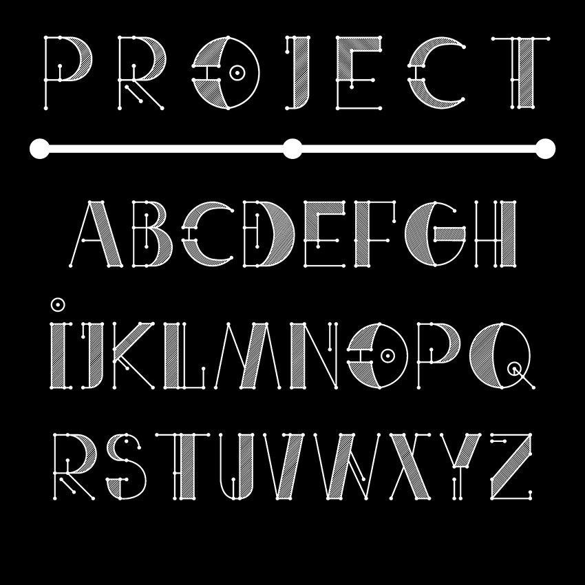 Engineer Technical Vector Font (B&W) ~ Fonts ~ Creative Market