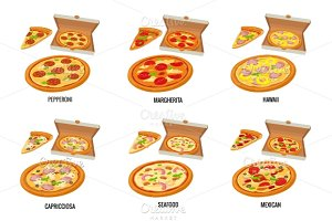 Set type whole, slice pizza in box