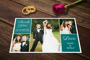 Wedding Thank You Postcards Template