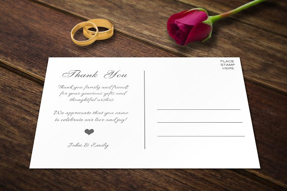 wedding thank you postcards template card templates creative market