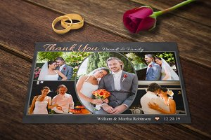 Wedding Thank You Cards Template PSD