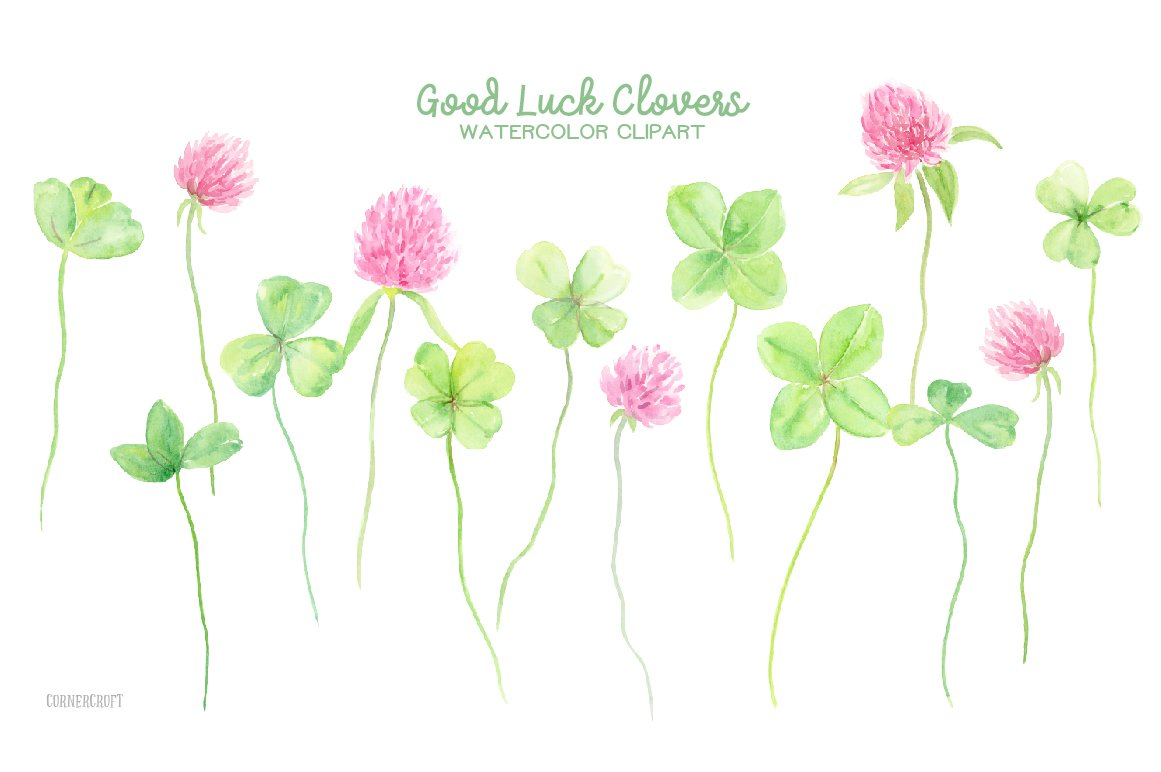 Watercolor Clipart Good Luck Clovers Illustrations Creative Market