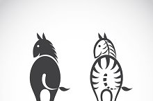 Vector images of horse and zebra