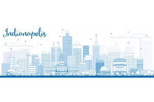 Outline Indianapolis Skyline