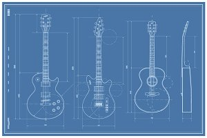 Vector Blueprint Guitar