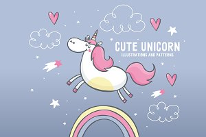cute unicorn illustrations, pattern