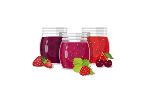 Three glass jars of jam