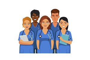 Group of medical students or nurses