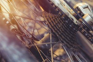 Bike wheel close up