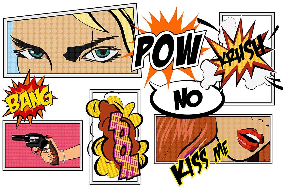comics pop art signs set vol 2 illustrations creative market. Black Bedroom Furniture Sets. Home Design Ideas