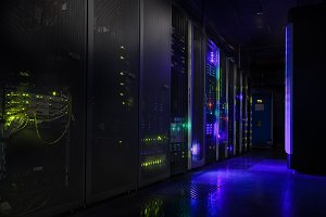 futuristic modern server room in data center