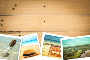 beach photo on wooden background.