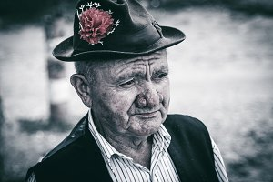 Old and sad man portrait