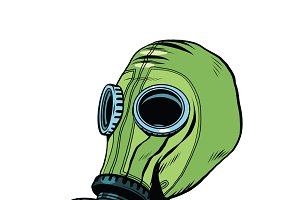 Gas mask, vintage rubber green