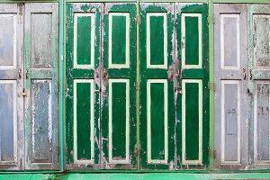 Green wooden door.