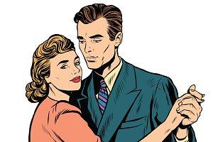 Retro man and woman dancing