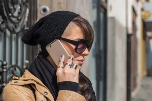 Hipster girl with a smartphone